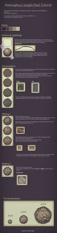 Pixel Art Tutorial - Shading by ~Kiwinuptuo on deviantART ✤ || CHARACTER DESIGN REFERENCES | キャラクターデザイン | çizgi film • Find more at https://www.facebook.com/CharacterDesignReferences & http://www.pinterest.com/characterdesigh if you're looking for: #color #contrast #animation #how #to #draw #paint #drawing #tutorial #lesson #sketch #colors #pixel #art #process #line #art #comics #tips #digital || ✤