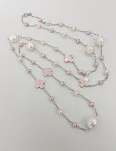 Mother of Pearl Station Necklace with Pink Freshwater Pearl Sterling Silver Chain Birthday Gift Clover Necklace, Mother Of Pearl Necklace, Station Necklace, Cultured Pearls, Beautiful Necklaces, Sterling Silver Chains, Birthday Gifts, Pink, Jewelry