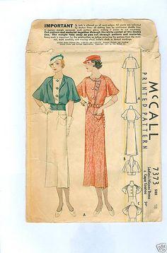 McCall 7373 | ca. 1933 Ladies' & Misses' Dress & Cape Coatee