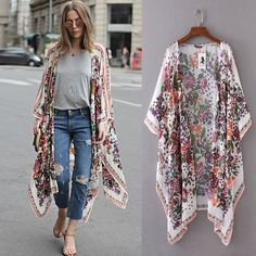 Women Floral Print Chiffon Loose Shawl Kimono Cardigan Top Cover up Shirt Blouse in Clothing, Shoes & Accessories, Women's Clothing, Tops Kimono Blouse, Kimono Outfit, Chiffon Kimono, Kimono Fashion, Hijab Fashion, Fashion Outfits, Womens Fashion, Print Chiffon, Floral Chiffon