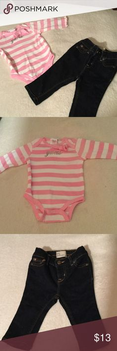 Guess Onesie and Baby Gap Skinny Jeans NWOT Bundle 3-6 month guess onesie and baby gap skinny jeans NWOT. GAP Bottoms Jeans