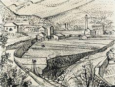 Kwekerijen bij Ollioules - J.J. Voskuil - 1952  Maat: 50cm x 65cm  Materiaal: oost-indische inkt op papier  Inventarisnummer: K1998