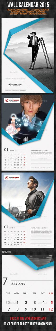 Corporate Wall Calendar 2015 Template | Buy and Download: http://graphicriver.net/item/corporate-wall-calendar-2015-v02/9575512?ref=ksioks