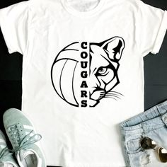 Cougars SVG, Volleyball SVG, Cougars Volleyball T-shirt Design, Volleyball Mom Shirt, Cricut Cut Fil