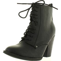 Breckelles Women's Heather-31 Lace-Up Combat Boot ($37) ❤ liked on Polyvore featuring shoes, boots, ankle booties, black, black lace up boots, lace up wedge booties, black lace up flats, black boots and black booties