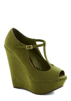 It Malt Be Love Wedge in Kale - Green, Solid, Party, Girls Night Out, High, Good, Platform, Wedge, Faux Leather, Vintage Inspired, 90s, Peep...