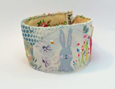 CUFF or bracelet. Textile all hand stitched. Vintage appliquéd materials. Bunny and Bees by hensteeth on Etsy
