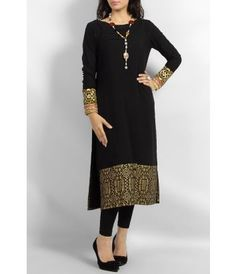 Black Boski Lawn Kurta with Golden Block Printed Daaman and Heavy Embroidered Cuffs - with Stones and Pearl Necklace