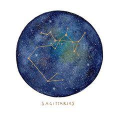 Sagittarius Constellation. Mini Constellation. Original Watercolor Art. Custom Hand Painting gift. Birthday Gift. Custom art. Gift under 50.