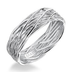 Brides: Diana. Comfort fit men's wedding band with woven design and textured finish. Available in platinum, 18K & 14K gold and in white, yellow or rose gold. See More Diana Wedding Bands