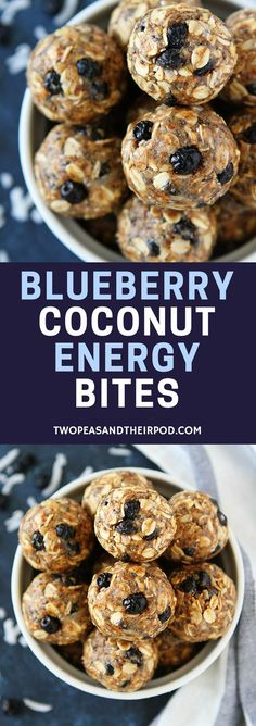 Blueberry Coconut Energy Bites are a great healthy breakfast or on the go snack! They are no bake and take 10 minutes to make! Store in the fridge to eat all week! #energybites #GlutenFree #snacks #healthysnacks #vegetarianrecipes