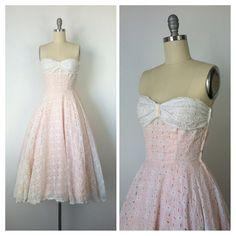 años 50 blanco rosa y negro vestido de por CheshireVintageShop