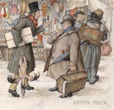 """Wanneer Anton Pieck op een dag in Amsterdam staat te schilderen, komt er een jonge kunstenaar bij hem staan die hem na een tijdje aanspreekt.""""Dat is heel mooi wat u daar maakt, meneer,"""" zegt de man. """"Maar u gaat daar wel last mee krijgen."""" """"Hoezo?"""" vraagt Pieck verbaasd. Waarop de kunstenaar verontwaardigd zegt: """"Dat is toch een pure imitatie van Pieck!""""  Bovenstaande anekdote wordt door Pieck in verschillende interviews aangehaald. Zijn manier van werken, die wel eens 'piecken' wordt…"""