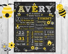 Bumble Bee Grey Yellow White ChalkBoard Wall Art Gray by allchalk