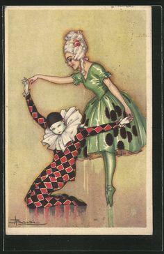 old postcard: Künstler-AK Adolfo Busi: Ballerina tanzt mit einem Harlekin