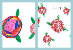 Meine 7jährige Tochter Rose liebt es Rosen zu malen :-)  My 7-year-old daughter Rose loves drawing roses :-)