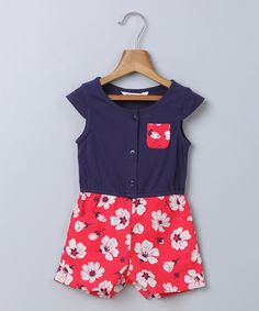 Navy & Red Floral Romper - Infant, Toddler & Girls