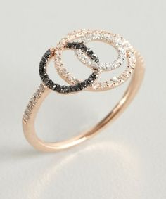 Tia Collections : black and white diamond interwoven circle ring : style # 320955301
