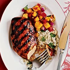 Hawaiian Chicken Recipe_Take a mental vaction to Hawaii as you enjoy this grilled chicken marinated in a mixture of pineapple juice, ketchup, soy sauce and ginger. Chicken Breast Recipes Healthy, Grilled Chicken Recipes, Marinated Chicken, Healthy Chicken, Healthy Recipes, Chicken Appetizers, Chicken Fajitas, Healthy Meals, Easy Recipes