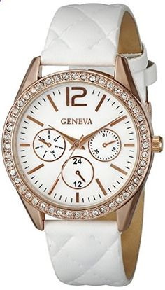 Geneva Women's FMDJM108 Rose Gold-Tone Watch with White Faux Leather Band. Go to the website to read more description.