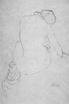"""Seated nude from behind to the right (Study for """"The Virgin"""") by Gustav Klimt 1913"""