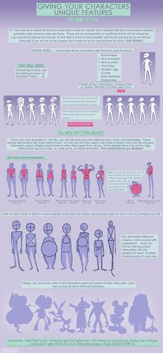 Adding character diversity: Body type Unique Features Tutorial Pt 1 by jeinu Tips on how to draw not so cookie cutter characters! Change body type and shape, showing off natural differences in build that happen in real life! Not everyone is built the same!