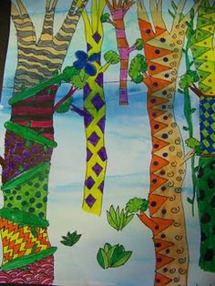 rainforest jungles, after drawing outlining, watercolor wash over whole paper, then color trees with markers