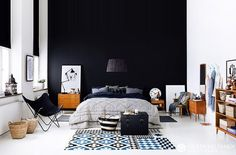 black, white, grey, blue bedroom.