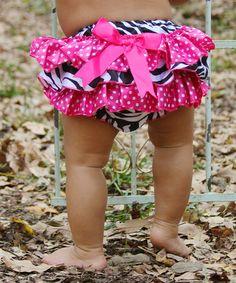 Look at this #zulilyfind! Hot Pink Zebra Ruffle Diaper Cover - Infant by Diva Daze #zulilyfinds
