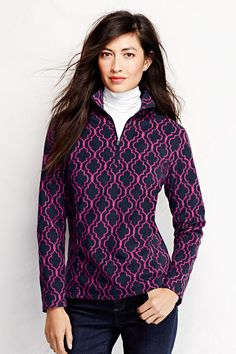 Women's ThermaCheck 100 Fleece Half-zip Pullover - Pattern from Lands' End - Classic Navy Lattice Print