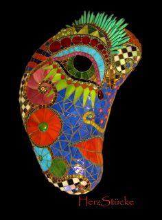 """Latest mosaic mask """"Moon Punk"""" 37 x 23 x 7 cm monolith, stained glass, beads, pearls, turqoise stings"""