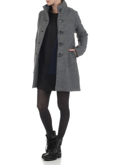 Manteau grosse maille Gris by LA FEE MARABOUTEE