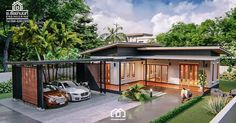 Modern, Villa-Style Single Storey House With Two Bedrooms - Ulric Home House Layout Design, Village House Design, Simple House Design, House Layouts, Modern House Design, Asian House, Thai House, L Shaped House Plans, New House Plans