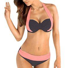 bf792d1f0f Maillots de bainFemmes Push Up Soutien-gorge rembourré Bandeau Taille Basse Bikini  Maillots de Bain