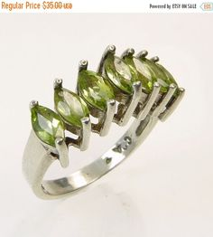 Vintage Sterling Silver Marquise Peridot Ring by jujubee1 on Etsy