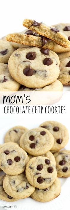 Mom's Chocolate Chip Cookies: Soft, chewy chocolate chip cookies that are never fluffy or cakey. My mom's recipe that she's been making ever since I was a little girl! You know they've got to be good :) http://www.thereciperebel.com