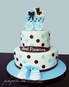 Blue and brown baby carriage shower cake
