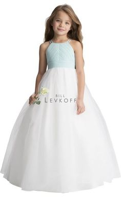 181e12d3aa8 Style 116101 from Bill Levkoff is a halter style long chiffon flower girl s  dress with pleated bodice and double spaghetti straps.