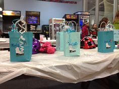 Party favor ice skate bags