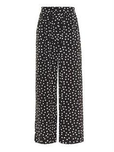 Polka-dot silk pyjama trousers