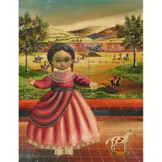 Agapito Labios (1898-1966) Mexican self-taught art girl and horse from dg on Ruby Lane
