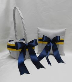 Grey Yellow Navy Blue Wedding Accessories Pewter by BellinaBlue, $42.00