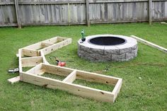 To begin, Joshua framed out the bench exactly as it would stand next to the fire pit.