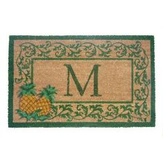 "Geo Crafts Aloha Scroll Monogrammed Doormat Letter: W, Rug Size: 1'10"" x 3'"