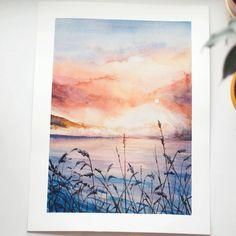 """2,026 Likes, 19 Comments - Художник, Буданцева Алена (@pam9tka) on Instagram: """"Невероятный зимний закат в моем исполнении по фото @sannalinn Наконец порисовала акварелью, даже…"""""""