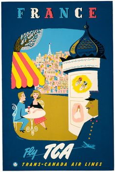 Vintage France travel poster. France. Fly TCA. Trans-Canada Air Lines. Illustrated by Jacques Le Flaguais, 1954.