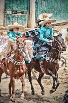 Escaramuzas are the women that ride side saddle their horses in the sport of Charreria.