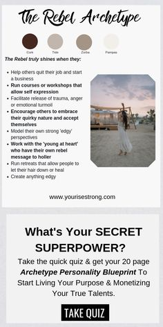 """Take the quiz to receive your page """"Soul Brand Blueprint"""". Discover Your Natural Talents That Lead To Your Profitable Life Purpose Personality Archetypes, Jungian Archetypes, Brand Archetypes, Superpower Quiz, Creative Writing Tips, Tarot Learning, Break Free, Self Discovery, Life Purpose"""