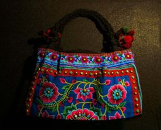 colorful embroidery beaded hand bag