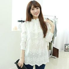 Buy 'Dodostyle – Embroidered Mandarin-Collar Half-Placket Blouse' with Free International Shipping at YesStyle.com. Browse and shop for thousands of Asian fashion items from South Korea and more!